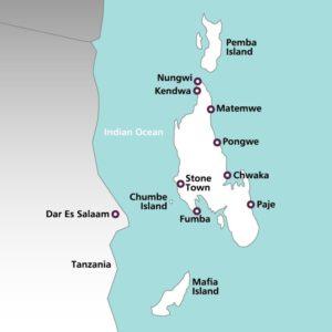 Zanzibar vakantie landkaart